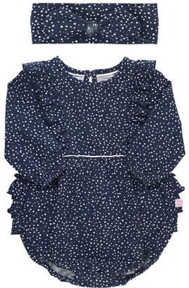 RuffleButts Girl's Dot Print Ruffle Bodysuit w/ Bow Headband, Size 0-24 Months
