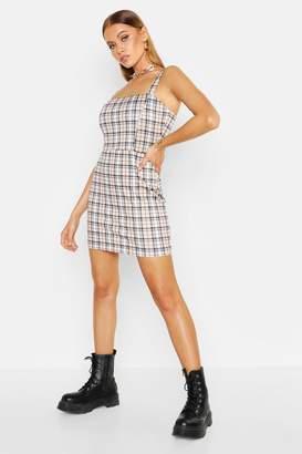 boohoo Check Jersey Pinafore Dress