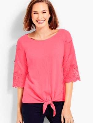 Talbots Lace-Sleeve Tie-Front Tee