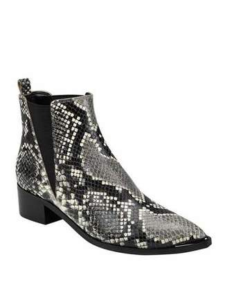 Marc Fisher Yale Snake-Print Chelsea Booties