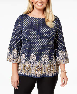 Charter Club Plus Size Printed Boat-Neck Top