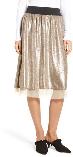 Women's Free People Flashing Lights Sequin Midi Skirt