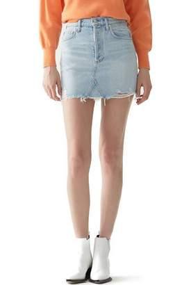 A Gold E AGOLDE Quinn High-Rise Frayed Denim Mini Skirt