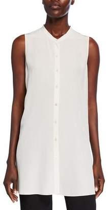 Eileen Fisher Petite Button-Down Sleeveless Silk Crepe Shirt w/ Mandarin Collar