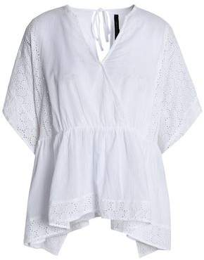 Walter W118 By Baker Broderie Anglaise-Trimmed Wrap-Effect Cotton Top