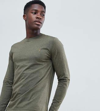 Farah Twisted Yarn Long Sleeve T-Shirt in Green Marl