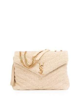 Saint Laurent Medium Soft Raffia Chain Shoulder Bag, Light Beige $1,990 thestylecure.com