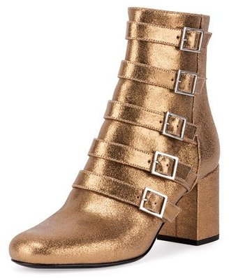 Saint Laurent Babies Belted Metallic Leather Boot $1,195 thestylecure.com