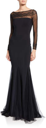 La Petite Robe Nieves Embroidered Illusion Trumpet Gown