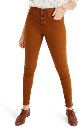 Madewell 9-Inch Mid-Rise Skinny Jeans: Garment Dyed Button Front Edition