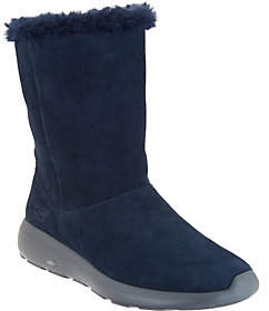Skechers GOwalk Suede and Faux Fur Boots -Stunning