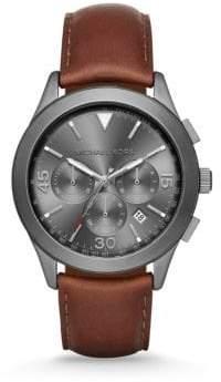 Michael Kors Gareth Gunmetal-Tone Stainless Steel & Leather Chronograph Strap Watch