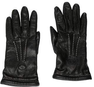 Fendi Leather Cashmere-Lined Gloves