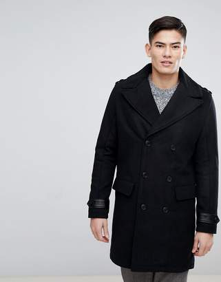 Kiomi Double Breasted Wool Mix Coat With Borg Collar In Black