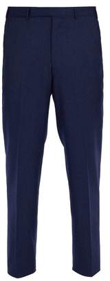 Ermenegildo Zegna Straight Leg Wool Trousers - Mens - Blue