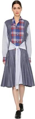 Loewe Patchwork Check & Striped Poplin Dress
