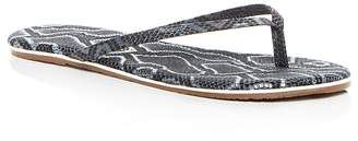 TKEES Studio Exotic Snake Embossed Leather Flip-Flops