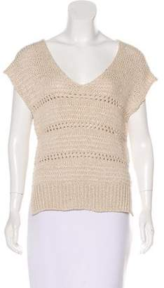 360 Sweater Linen-Blend Open Knit Sweater w/ Tags