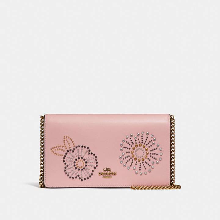 Coach Foldover Chain Clutch With Tea Rose Rivets - PEONY/BRASS - STYLE