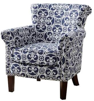 Alcott Hill Olson Accent Club Chair with Arms Upholstered Silver Nail Head
