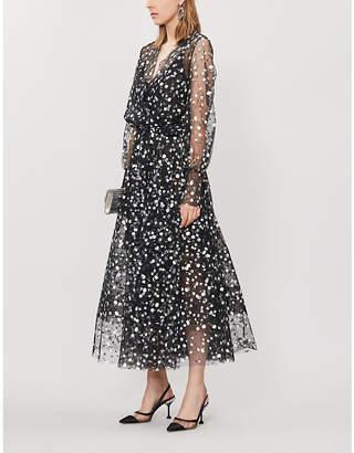 Oscar de la Renta Blouson-sleeve embroidered tulle midi wrap dress