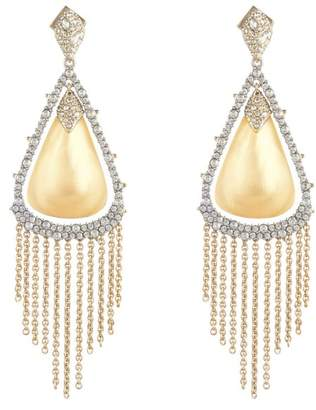 Alexis Bittar Crystal Capped Tassel Chain Post Earring