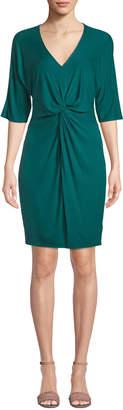 Three Dots Knot-Front Dolman-Sleeve Jersey Dress