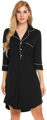 Bifast Short Sleeve Pyjamas Comfy Turn Down Collar Button Down Slip Wear