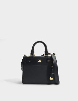 MICHAEL Michael Kors Mott Uptown Mini Messenger Bag in Black Small Pebble Leather