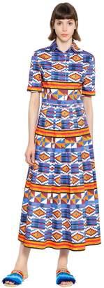 Stella Jean Geometric Print Plisse Cotton Dress