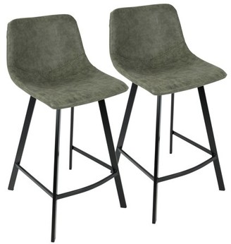 Lumisource Outlaw Industrial Counter Stool in Green PU by Set of 2