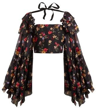 Rodarte - Square Neck Floral Print Silk Blend Blouse - Womens - Black Multi