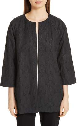Eileen Fisher Metallic Jacquard Collarless Jacket
