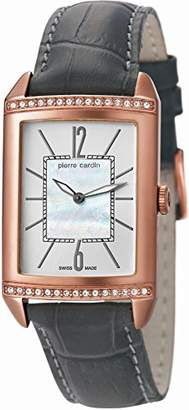 Pierre Cardin Celebrite Women's Quartz Watch with Mother Of Pearl Dial Analogue Display and Grey Leather Strap PC105542S04