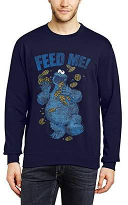 Sesame Street Men's 16.Cookie Feed Me Crew Neck Long Sleeve Sweatshirt