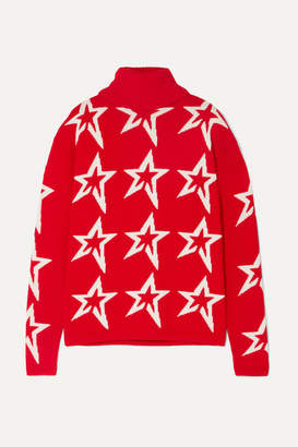 Perfect Moment - Stardust Intarsia Merino Wool Turtleneck Sweater - Red