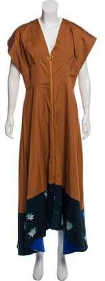 Roksanda Cap-Sleeve Silk Maxi Dress