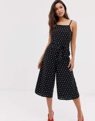Oasis cropped leg jumpsuit in polka dot