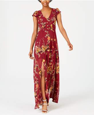 Crystal Doll Juniors' Floral-Print Maxi Dress