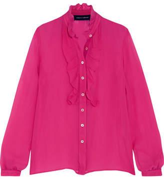 Vanessa Seward Rose Ruffled Silk Blouse - Pink