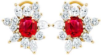 Diana M Fine Jewelry 18K Two-Tone 5.65 Ct. Tw. Diamond & Ruby Earrings