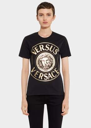 Versace Gold Tone Lion Head Logo Slim Fit T-Shirt