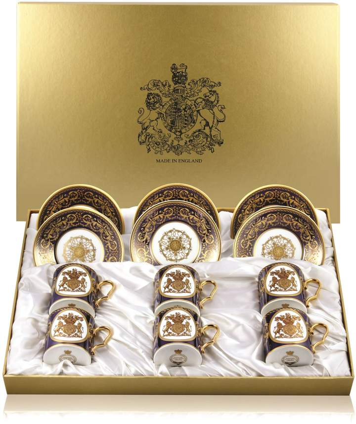 Royal Collection Trust Lustre Coffee Cups and Saucers(Set of 6)
