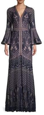 Tadashi Shoji Bell Sleeve Lace Gown