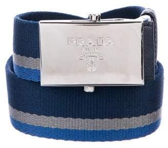 Prada Striped Canvas Belt