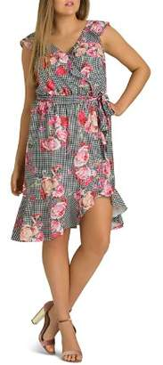 City Chic Plus Rose Picnic Ruffled Wrap Dress