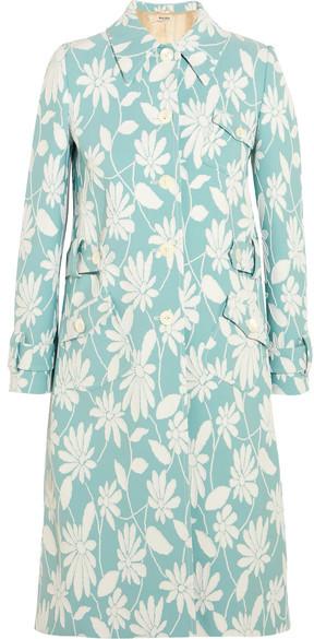 Miu MiuMiu Miu - Floral Cloqué Coat - Sky blue