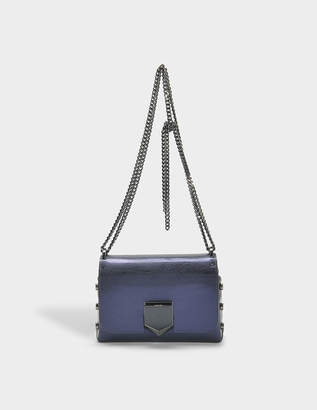 Jimmy Choo Lockett Petite Bag in Navy Etched Metallic Spazzolato Leather