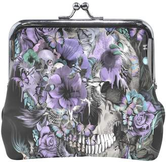 ALIREA Skull And Birds Leather Coin Purse snap Closure Clutch Coin Wallet