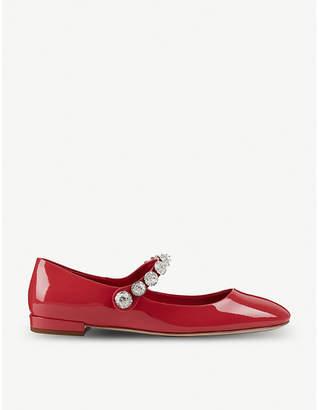 Miu Miu Patent-leather crystal-embellished Mary Jane ballerina flats